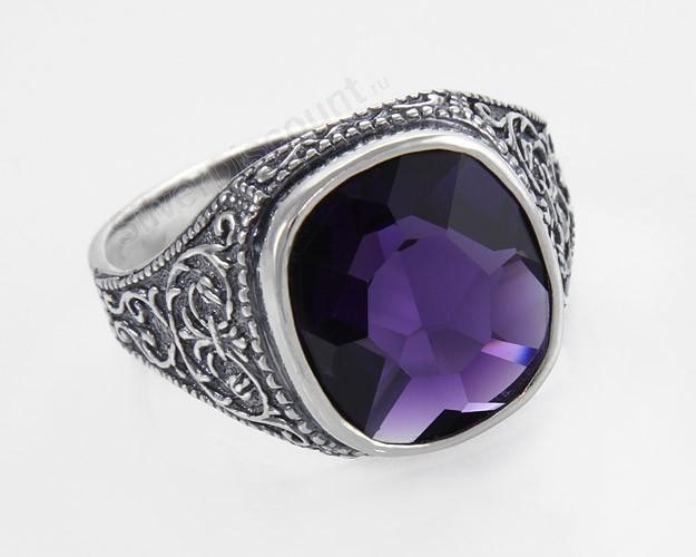 мужское серебряное кольцо с аметистом - mimege.ru