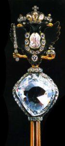 Екатерина 2 приказала вставить алмаз Орлов в верхнюю часть Российского державного скипетра