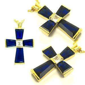 Кулоны в форме креста с синтетическими сапфирами