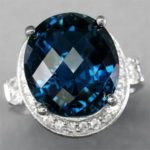 Кольцо с синим топазом