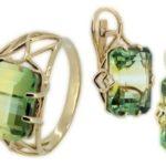 Кольца с зеленым турмалином