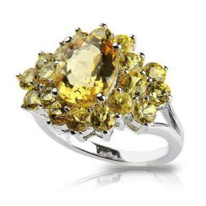 Цена на кольца с камнем гелиодор довольно высока