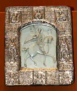 Резная икона с изображением святого Дмитрия Солунского, материал - тальк