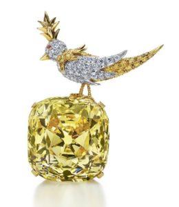 Бриллиант Тиффани в оправе с драгоценной птичкой