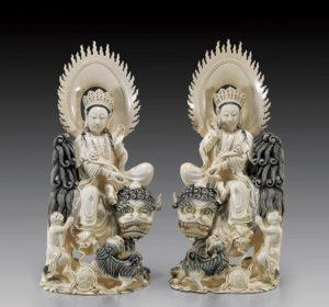Резные китайские Бодхисаттвы из слоновой кости