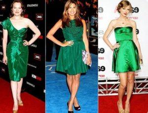 Девушки в платье зеленого цвета